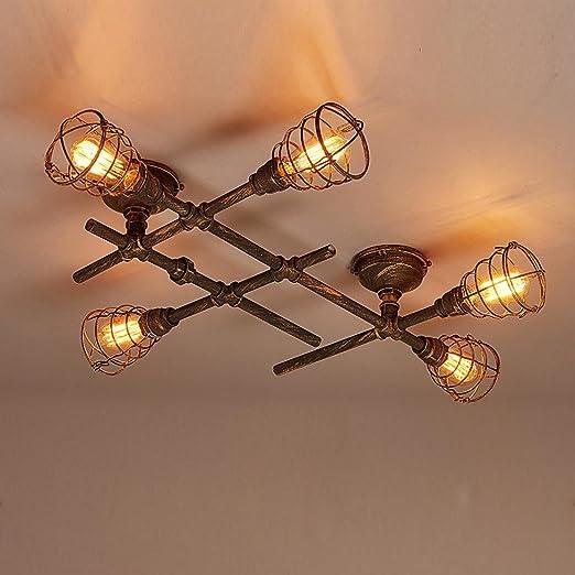 Deckleuchte Loft Retro Vintage Industrielampe Deckenlampe E27 Kreativ Antik 5 Flammig Deckenstrahler Leuchter Metall Wasserrohr Decke Lampe Innen