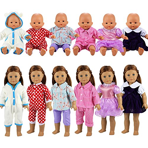 BARWA 6 Sets Dresses Clothing Jumpsuits Clothes Handmade Costume for 14 to 16 Inch Baby Dolls and 18 Inch Dolls