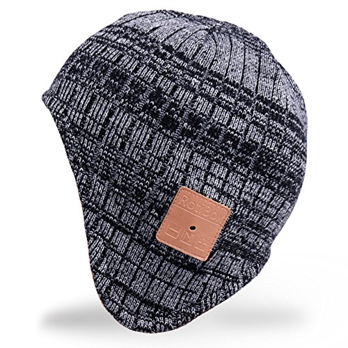 Mydeal Wireless Bluetooth Beanie Hat Ear Covers Headphones Headsets with Speaker Mic Hands Free for Women Men Outdoor Sports,Compatible with Iphone 7/7 plus,Samsung,Best Christmas Gifts - Black/Gray (Child Skull Teeth)
