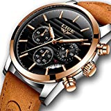 LIGE Watches Mens Brown Leather Skull Analog Quartz Waterproof Business Dress WristWatch Chronograph Sports watch Luminous Rose Gold Black Dial Watches for Men