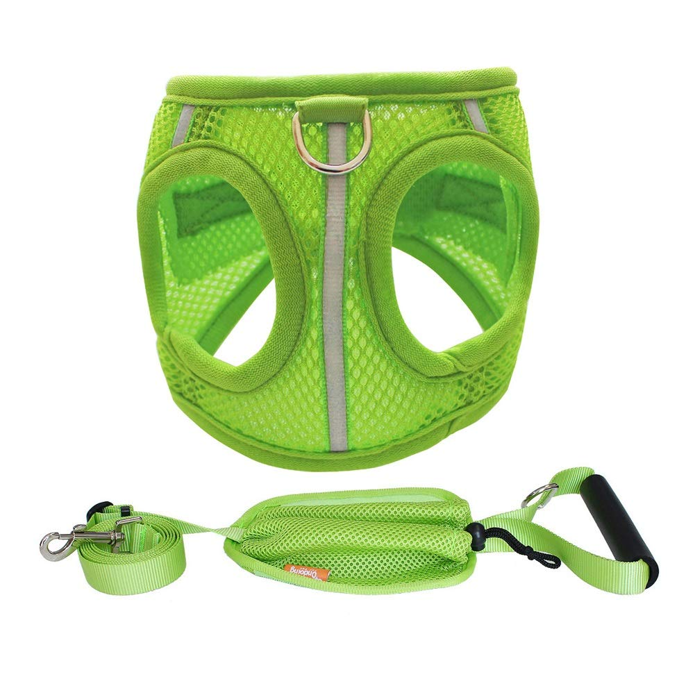 GREEN XS(30-37cm) GREEN XS(30-37cm) Dog Vest Harness, Chest Strap+ Traction Rope Pet Sports Breathable Outdoor Training Running Buffer Safety Rope Chain for Puppy Medium Large Dogs Supplies (color   Green, Size   XS(30-37cm))