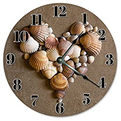 SEA SHELLS BEACH CLOCK Large 10.5 in Beach House Decoration, Beach Themed Wall Hang Clock HEART SHAPED SHELLS