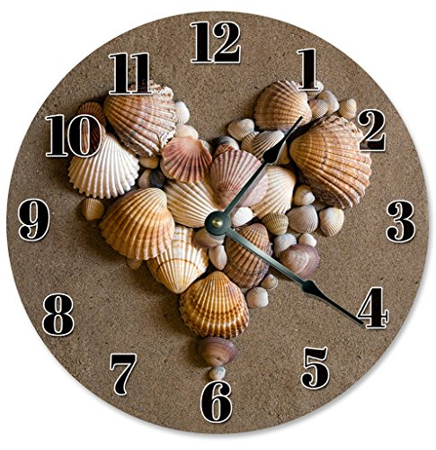 Sugar Vine Art SEA Shells Beach Clock Large 10.5 in Beach House Decoration, Beach Themed Wall Hang Clock Heart Shaped ()