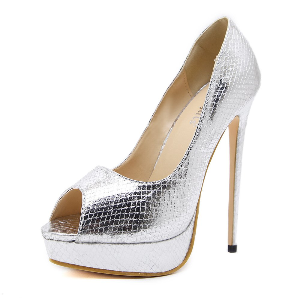 Gusha Platform Wedding Shoes high Heels Toe Women Leak Toe Heels Shoes fine Heel Sandals 37/6.5 B(M) US Women|Silver B07BZCWCF8 7eeeaf