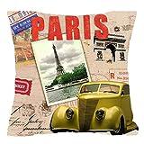 "Retro Classic Cars Red Mailbox New York London Paris Cotton Linen Square Throw Waist Pillow Case Decorative Cushion Cover Pillowcase Sofa 18""x 18"" (3)"