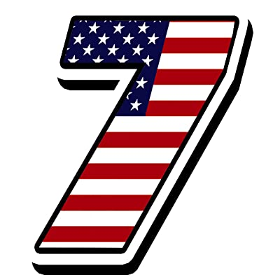 Racing Rally Number 7 Sticker Decal USA Flag N 307: Automotive