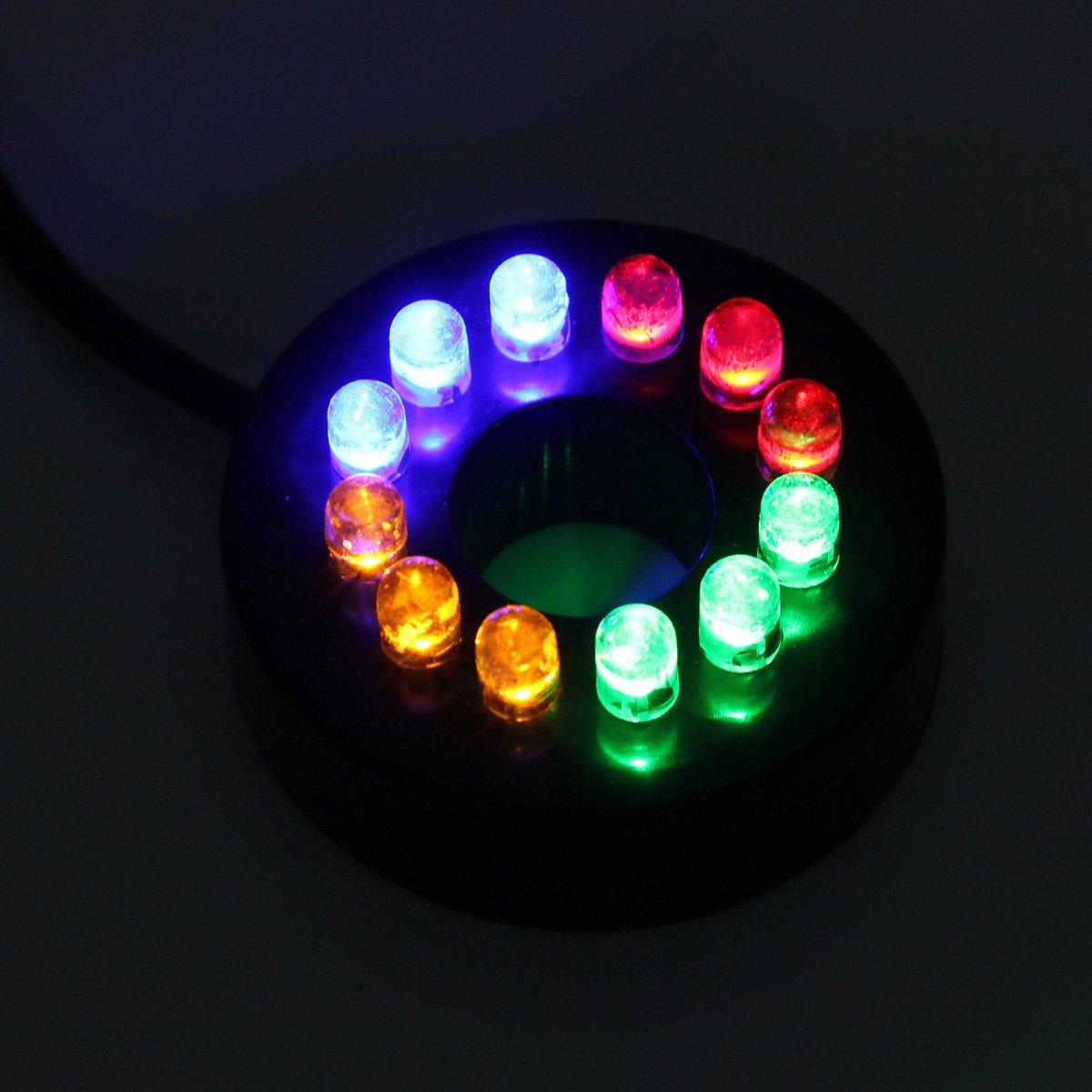 Bomba Sumergible con 12 Luz de LED Colorido ,GOCHANGE 220V,15W,800L/H, H Altura 1.6M/Aguas Limpias Bombeo para el Acuario,Estanque Hidropónico,Fuente ...