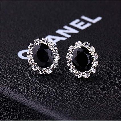 5a91d7943de Creative Stylish Oval Diamond Earrings Multicolor Flash Diamond Zircon  Earrings,Black