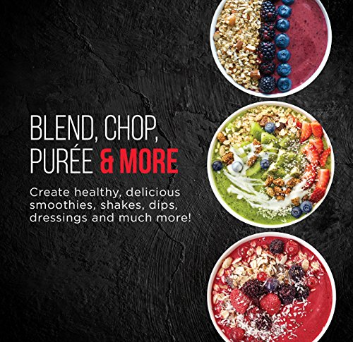 Chefman Ultimate Personal Smoothie Blender, Single Serve, Stainless Steel Blending Blade, 2 Travel Cups with Lids, Solid Storage Cover and Comfort Drinking Rim, 6 Piece - RJ28-6-SS-Red by Chefman (Image #2)'