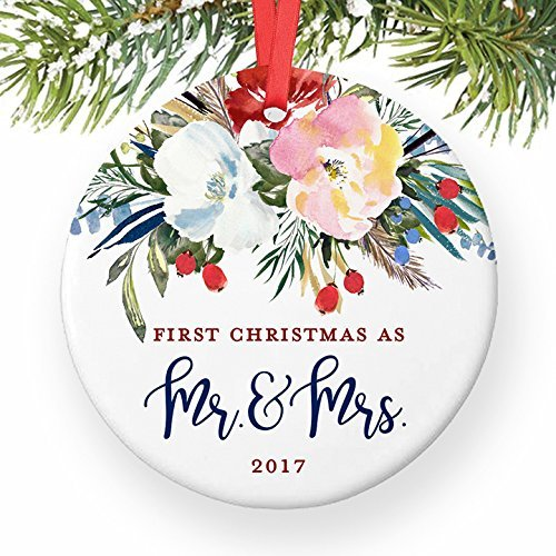 China Champagne Flute (Newlyweds Gift, Christmas Ornament 2017, First Christmas as Mr and Mrs, Xmas Married Couple Keepsake Gift Him Her, Pretty Floral Wreath Ceramic 3