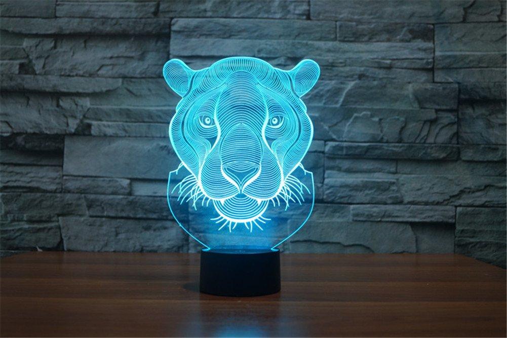 PROW/® Nouvelle t/ête de lion des animaux superbes effets d/éclairage hallucinations visuelles lumi/ère de nuit LED 3D Lampe de table