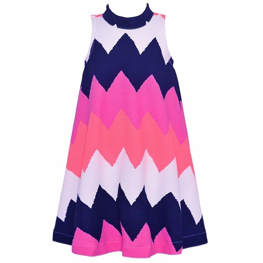 49faf17d3de1 Amazon.com  Bonnie Jean Little Girls Purple White Wide Chevron Stripe  Pattern Dress 4-6X  Clothing