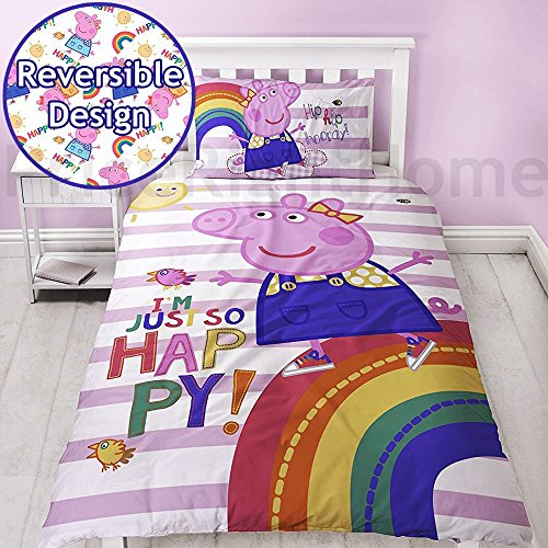 (Peppa Pig Friends Striped Duvet Cover With Matching Pillow Case,)