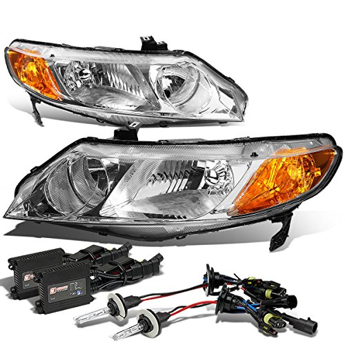 (For Honda Civic 4DR Headlight (Chrome Housing Amber Reflector)+12000K HID+Slim Ballasts - FD FG FA FK FN)