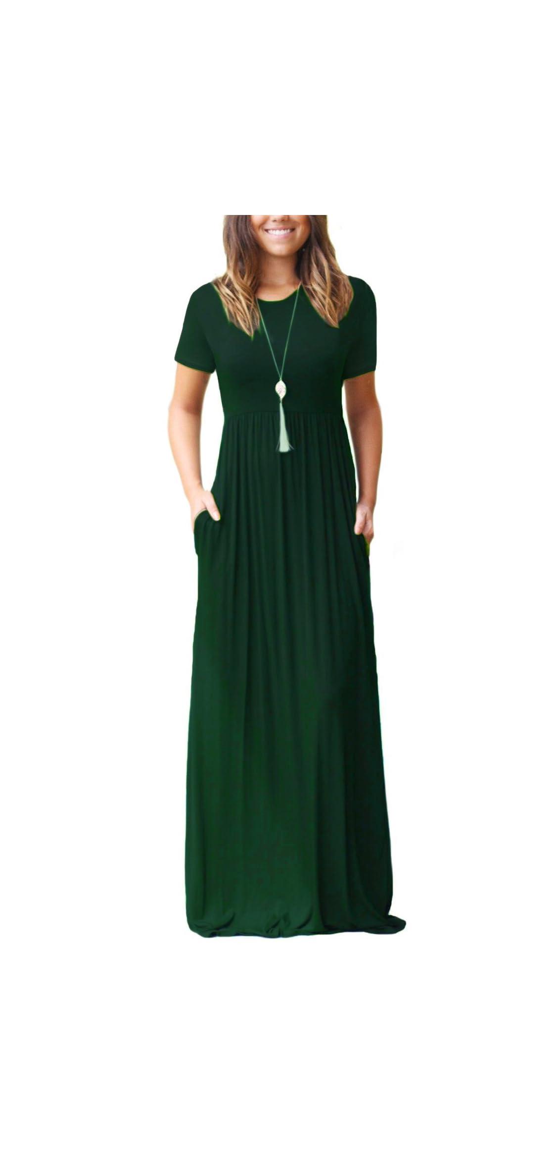 Women Short Sleeve Loose Plain Maxi Dresses Casual Long