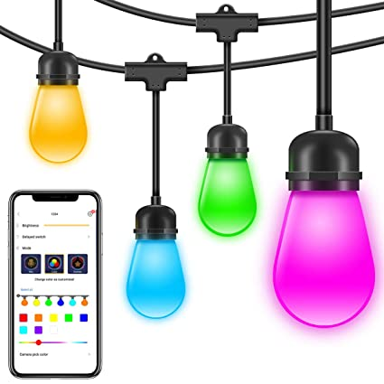 Govee Led String Lights Rgb Warm White Diy App Controlled Color Changing Hanging Light For Indoor And Outdoor Cafe Patio Commercial Party Holiday