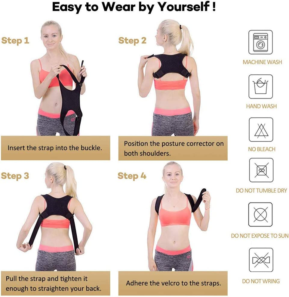 YunZyun Back Straightener for Student and Adult,Back Posture Correct Humpback Muscle Spasm Posture Clavicle Corrector Brace Strap,Smooth Your Waist Shape Your Body Black-1