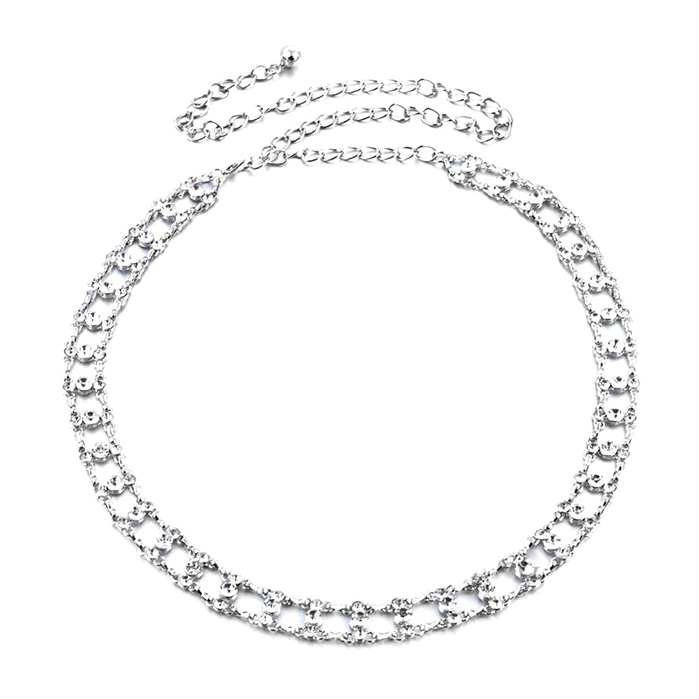 Sitong women's double diamond metal waist chain