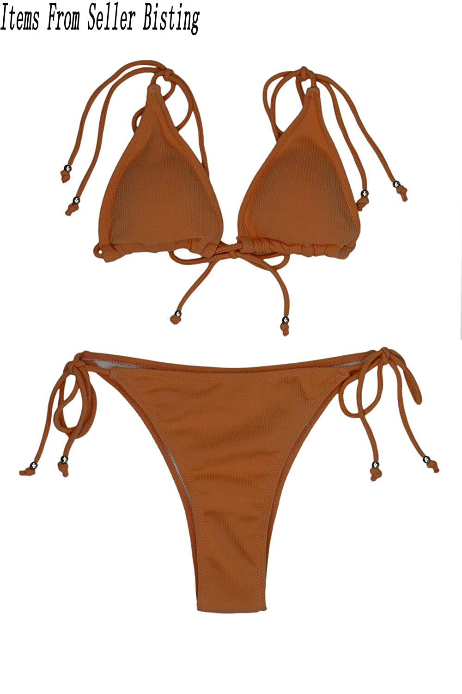 2f65dd7bc4 Amazon.com: Bisting Womens Ribbed Tie Shoulder Tie Side Triangle Bikini Set  2 Piece Swimsuit: Clothing
