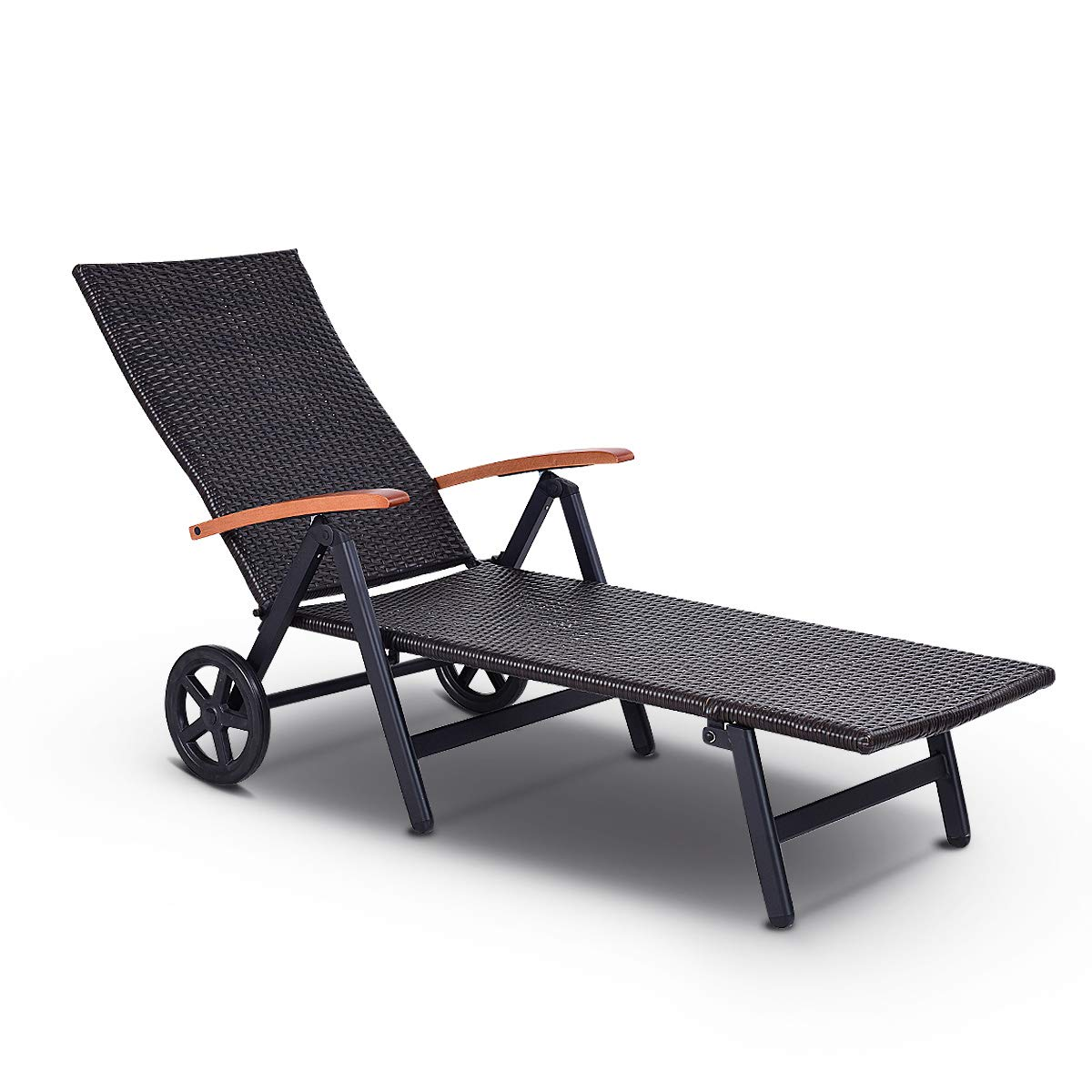 Tangkula Wicker Chaise Folding Back Adjustable Aluminum Rattan Lounger Recliner Chair W/Wheels (Mix Brown)