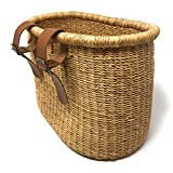 Swahili African Modern African Elephant Grass Handwoven Bicycle Basket, Natural
