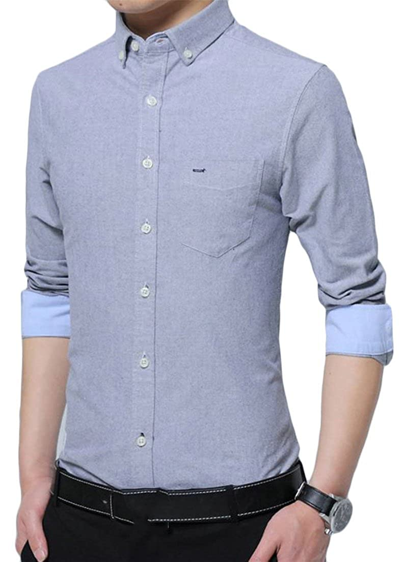 Wofupowga Mens Cotton Classic-fit Pure Color Slim Fit Tops Long Sleeve Button Down Shirts