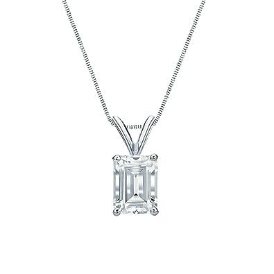 13967610d18 Amazon.com: 14k White Gold 4-Prong Basket Emerald-Cut Diamond ...