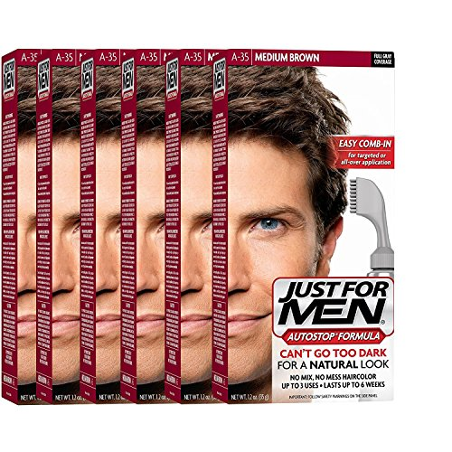Just For Men AutoStop Men's Hair Color, Medium Brown A-35 (Pack of 6) by Just for Men