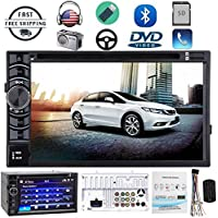 Double 2DIN Car Stereo with Bluetooth DVD CD Player Radio USB HD Touch Screen Steering Wheel Control Aux-in Rear View Camera Input (US Stock)