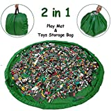 Hobbyunion Multi-use Toys Storage Bag Mat, Kids Floor Activity Mat (60-inches) Toys Organizer Bag Picnic Mat - Organize Clean up Lego Toys in 40 Seconds by Drawstring - Turn into Quick Portable Pouch