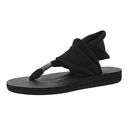 c4fa3ffed0a4 FITORY Womens Flip Flops Yoga Sling Flat Thong Sandals Lightweight Shoes  Size 6-11 Black