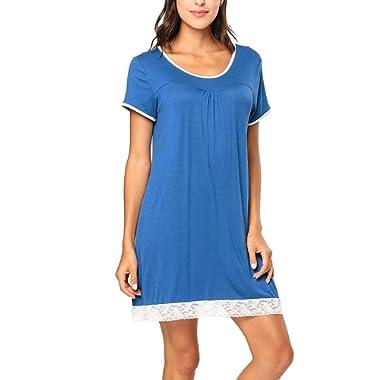 TUFFA TURRA Women's Short Sleeve Nightgown V Neck Sleapwear Lounge