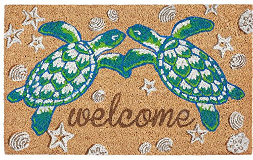 Kensington Row Coastal Collection Door MATS - Loving SEA Turtles Vinyl Back Coir Welcome MAT - 18