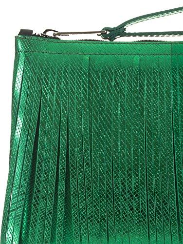 GUM POCHETTE NUMBERS MEDIA, Lattice, Con Frange, Verde Laminato, 26X28X12 CM