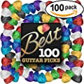 Best Guitar Picks (HUGE 100 VALUE PACK) Unique Designs in Assorted Colors & Celluloid Finish- 3 Different Sizes Light/Thin, Medium, Heavy/Thick - Awesome for Acoustic, Bass, or Electric Guitars