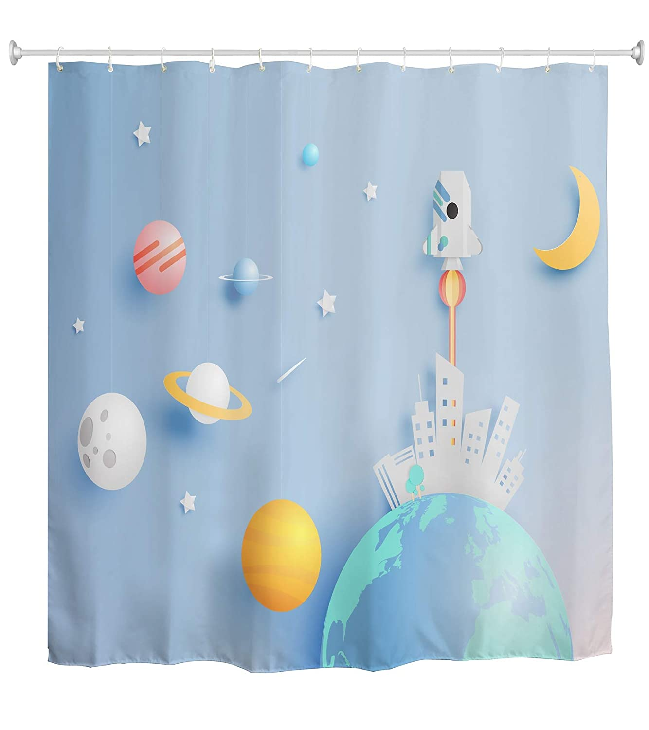 Ao Blare Universe Shower Curtain Space Earth Sun Paper Rocket And Solar System Art Blue Blackground Waterproof Polyester Fabric Set
