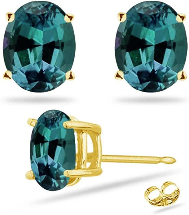Rose,Yellow, White Gold color Lab Created Round Russian Alexandrite Stud Earrings in 14K Solid Gold  925 Sterling silver in 4MM-8MM size