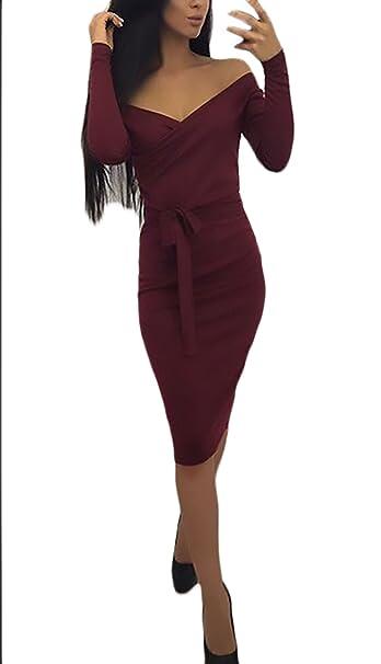 b85ae86278 Mujer Vestidos De La Rodilla Primavera Otoño Manga Larga Lindo Chic V  Cuello Vestido Slim Fit Cinturón Casuales Elegantes Sin Tirantes Color  Sólido: ...