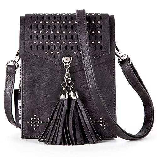Women Small Crossbody Bag, seOSTO Tassel Cell Phone Purse Wallet Bags (Black) by seOSTO