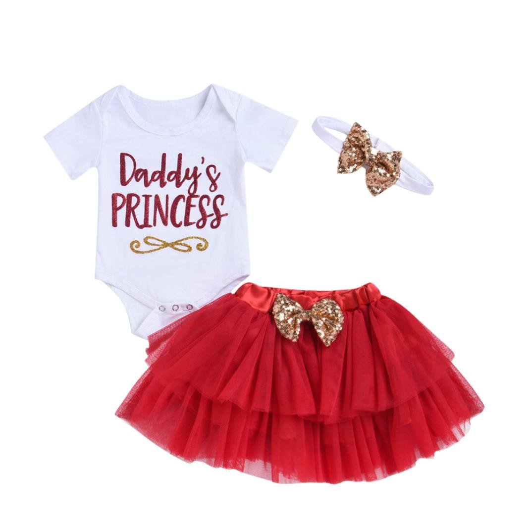 Colorful TM 3Pcs Newborn Infant Baby Girls Letter Print Short Sleeve Romper Tops+Skirt Mother's Day Father's Day Outfits Set
