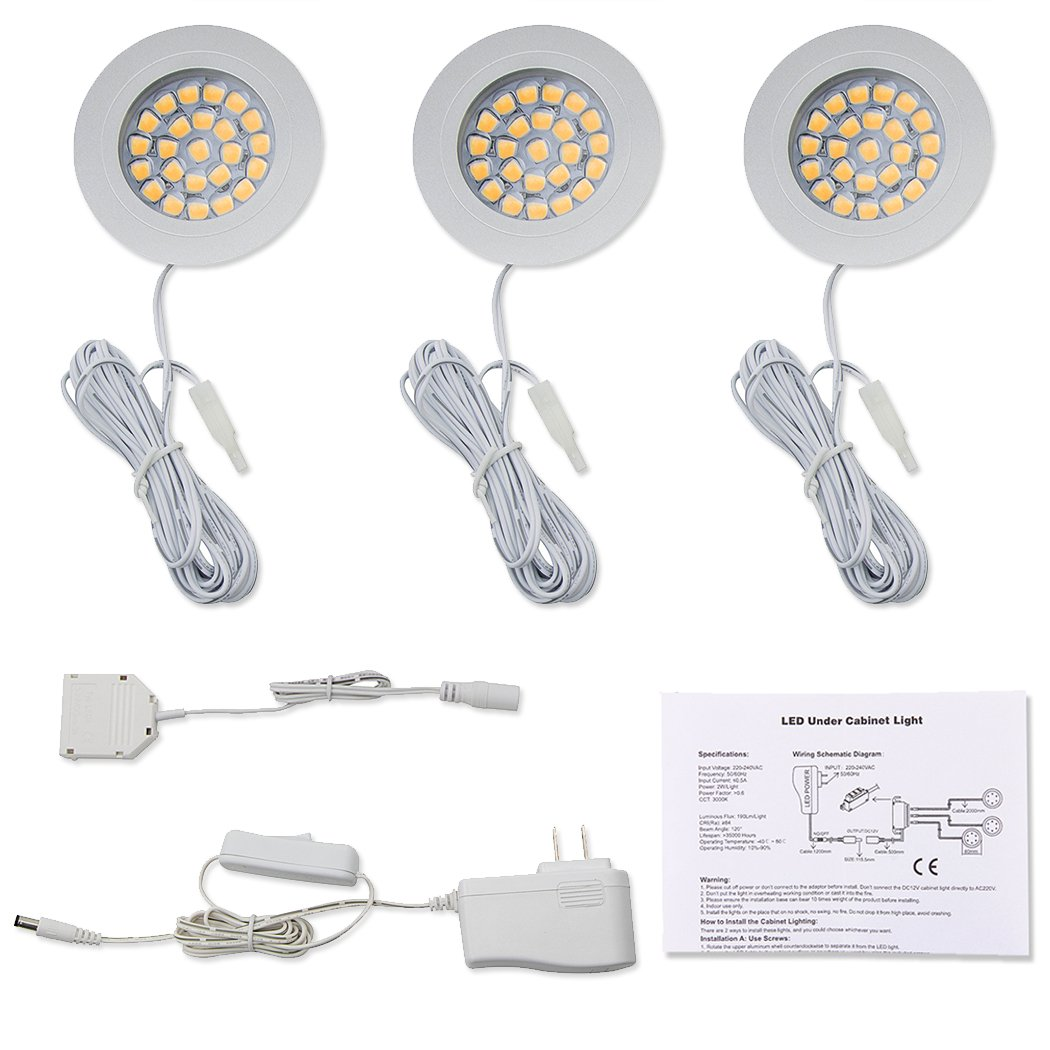Double K Light Under Cabinet Lighting Dc12v Warm White Wiring Diagram For Led Puck Lights Counter Closet Furniture Kitchen Bathroom 3 Pack