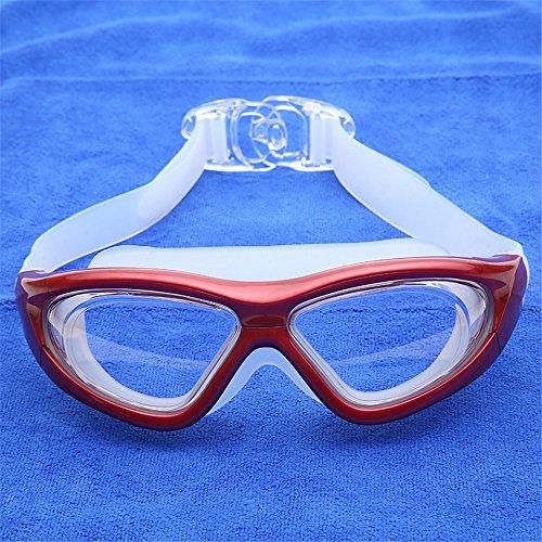 LXKMTYJ Lunettes de natation HD étanche anti-buée plongée professionnels garçons et filles, rouge transparent