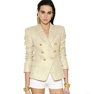 e4738a357ce maxsmarts High Street New Fashion 2018 Classic Designer Blazer Jacket  Women s Lion Metal Buttons Double Breasted