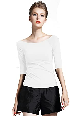 Women's Casual Off Shoulder Blouse White Top T-shirt (XXL)