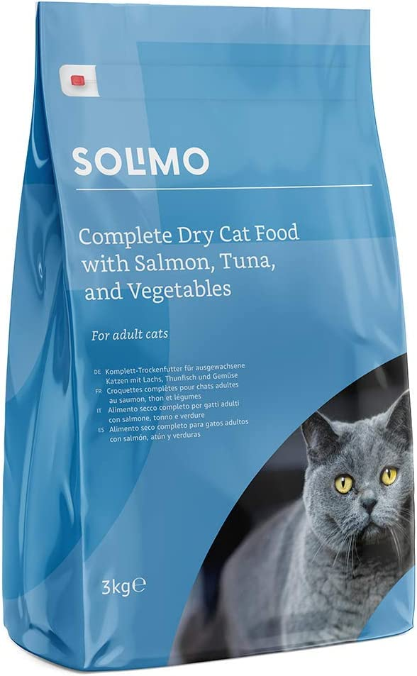 Marca Amazon - Solimo - Alimento seco completo para gatos adultos con salmón, atún y verduras, 3 Packs de 3kg