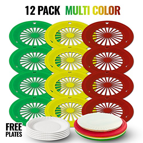 Paper Plate Holder, 12 Plastic/Reusable & 30 FREE paper plates/ NEWEST version, More durable than Wicker/picnic gift/ Outdoor/ rattan