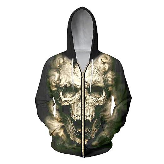 Men Gedruckt Hoodie 3d Männer Zipper Totenkopf Ghost WEHID29Y