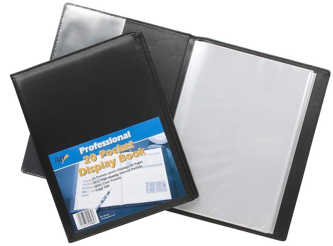 Tiger A4 Professional Display Leather look Presentation Book Folder  Portfolio Black 20 Pockets