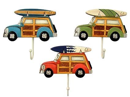 3 Woody con tabla de surf toalla ganchos por Beachcombers