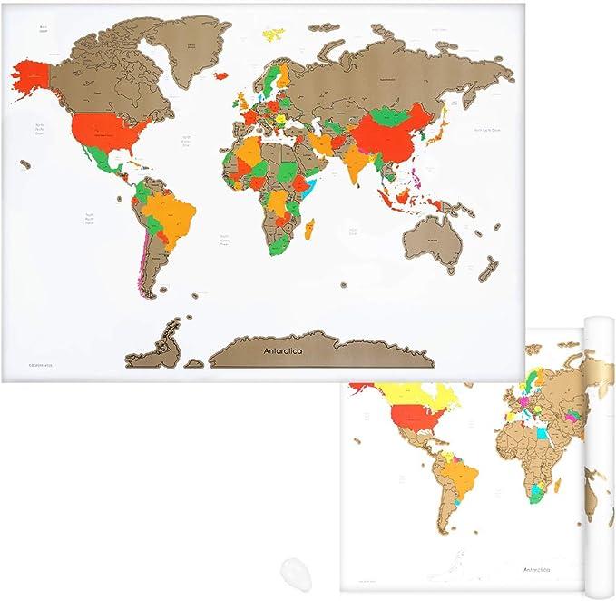 Navaris Mapamundi rascable - Póster grande para pared - Marca los países a los que has viajado y planea futuros viajes - Incluye rascador - Blanco: Amazon.es: Oficina y papelería